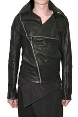 Rick Owens Biker Zipped Leather Jacket - Lyst