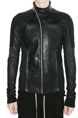 Rick Owens Denim and Blistered Lamb Leather Jacket - Lyst