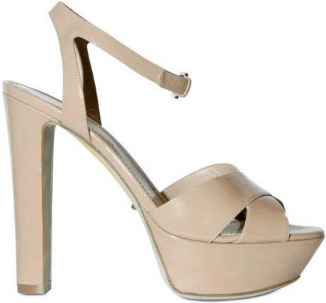 Sergio Rossi 120mm Patent Cross Over Sandals in Beige (nude) - Lyst