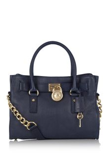 Michael by Michael Kors Navy East West Hamilton Satchel - Lyst