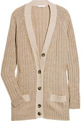 Chloé Wool-blend Ribbed Cardigan - Lyst