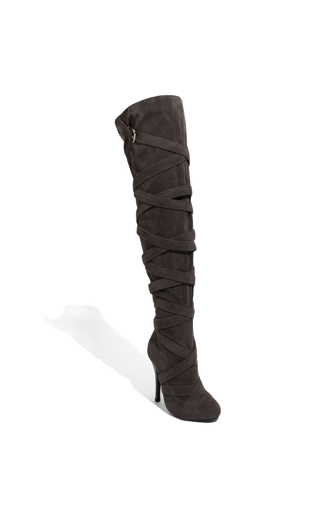 n y l a freemont the knee boot in gray grey suede