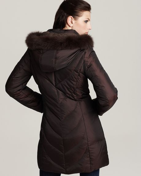 Via Spiga Grace Hooded Puffer Jacket With Fox Fur Trim In