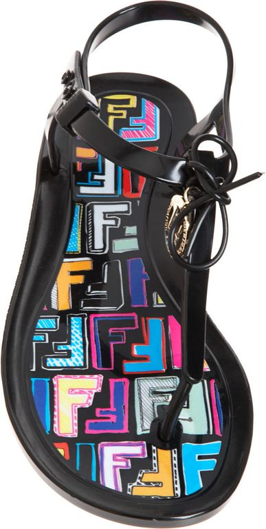 Fendi Jelly Thong Sandal in Black