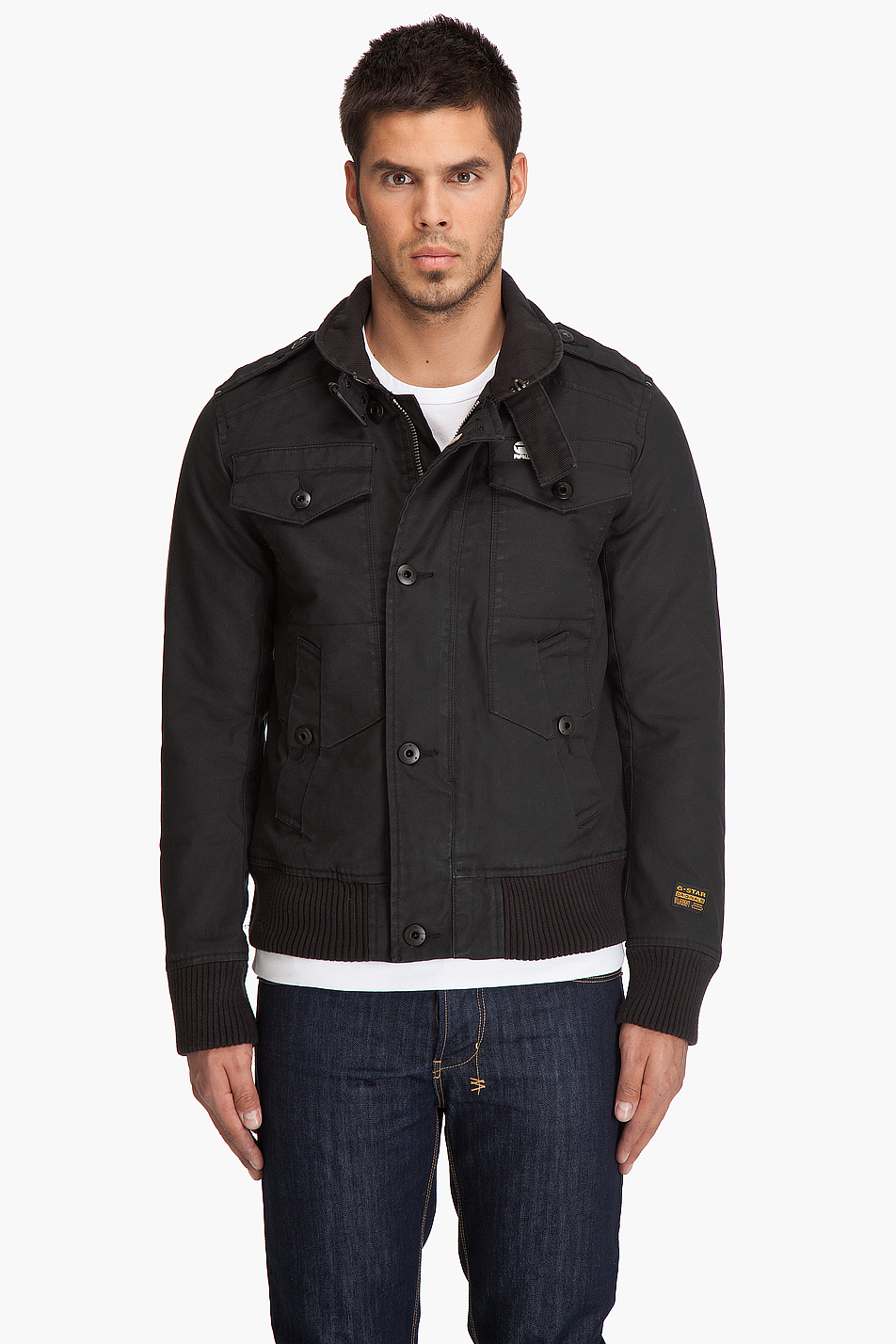 g star raw fleet bomber jacket in black for men lyst. Black Bedroom Furniture Sets. Home Design Ideas