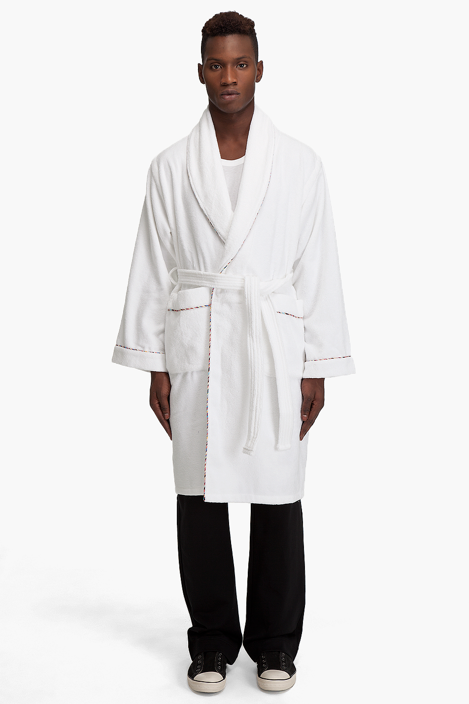 paul smith white cotton terry robe in white for men lyst. Black Bedroom Furniture Sets. Home Design Ideas
