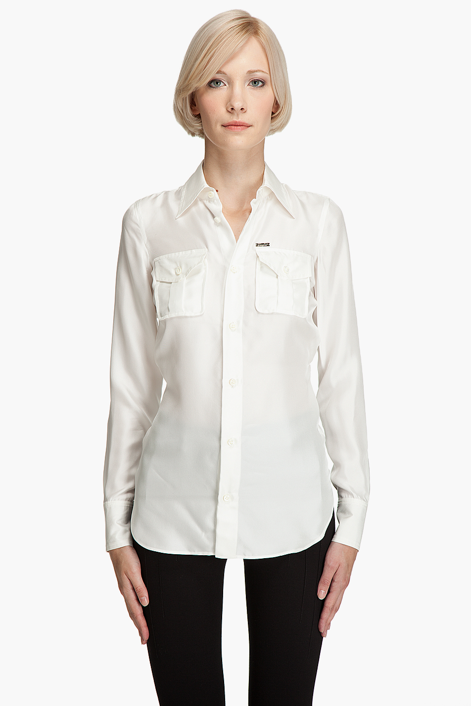 Dsquared2 silk button down shirt in white ivory lyst for Silk button down shirt
