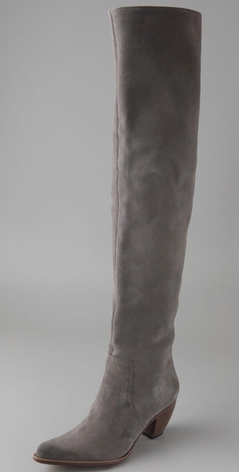 Elizabeth and james Western Thigh High Suede Boots in Gray | Lyst