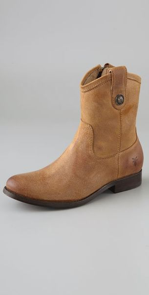 frye button suede boots in brown lyst