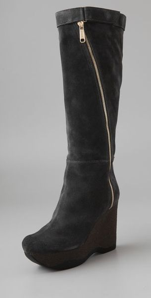 jil sander suede platform wedge boots in gray grey lyst