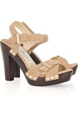 Jimmy Choo Urban Embossed-leather Sandals - Lyst