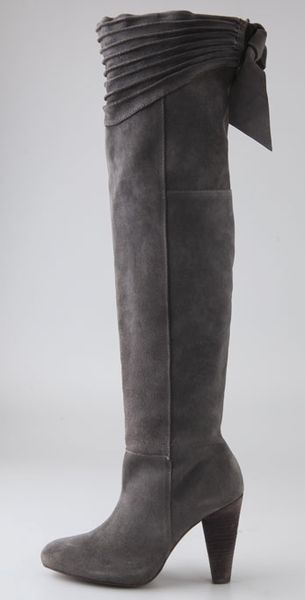 Joie Stand Tall Suede Over The Knee Boots In Gray Lyst