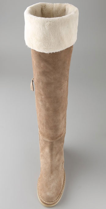 e98e0014ac1 Lyst - Tapeet Flat Suede Over The Knee Boots with Faux Fur Lining in ...