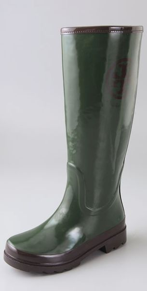 Tory Burch Tory Logo Rain Boots In Green Forest Lyst