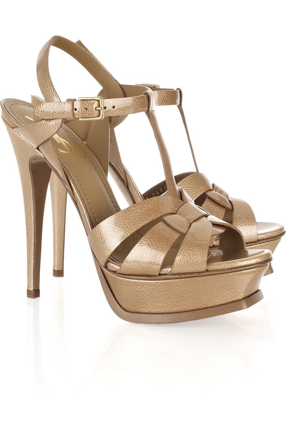 Lyst Saint Laurent Tribute Patent Leather Sandals In Natural