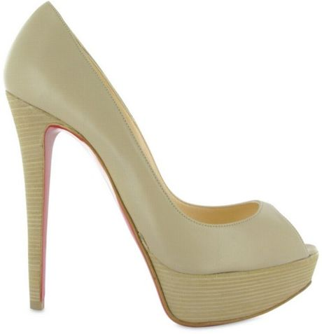 Christian Louboutin 140 Banana Calfskin Peep Toe Pumps in Green (beige) - Lyst