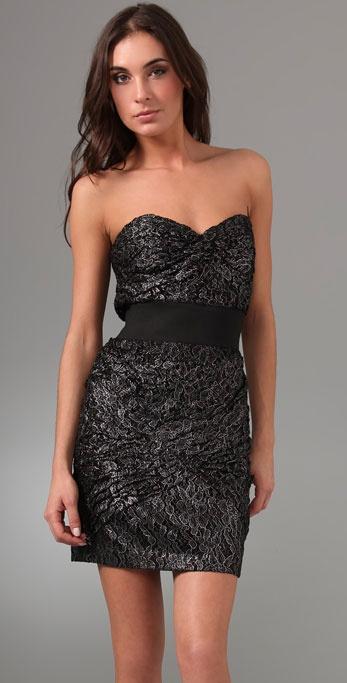 Foley   corinna Metallic Lace Strapless Dress in Black | Lyst
