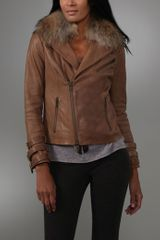 Haute Hippie Washed Leather Jacket with Raccoon Fur Collar - Lyst