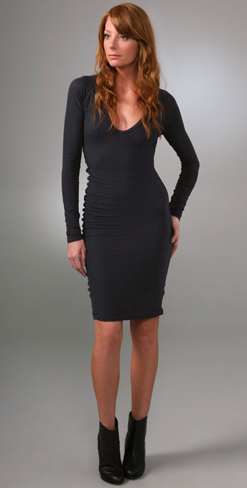 James perse Long Sleeve Fitted Dress in Purple | Lyst