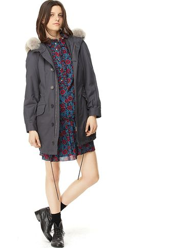 Marc By Marc Jacobs Marley Cotton Twill Jacket with Coyote Fur Trim and Hana Ruffled Floral Dress - Lyst