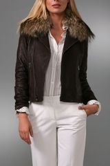 Theory Elston Leather Jacket with Fur Collar - Lyst