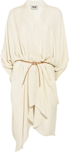 Acne Dolphin Draped Silk Wrap Dress in Beige (cream) - Lyst
