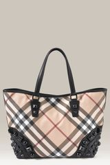 Burberry Studded Check Print Shopper - Lyst