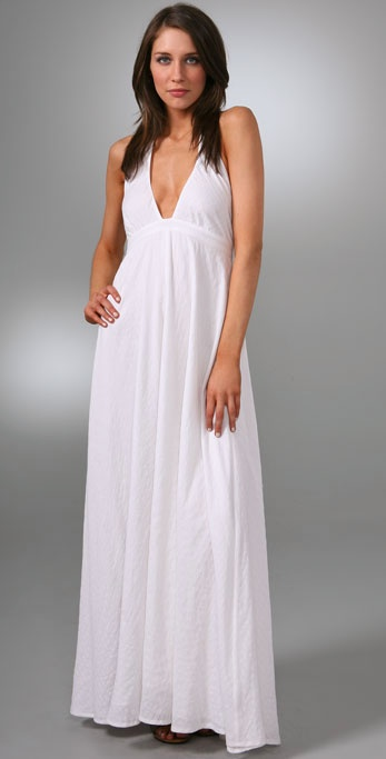 fcea5532f5588 Dallin Chase Halter Long Dress In White Lyst