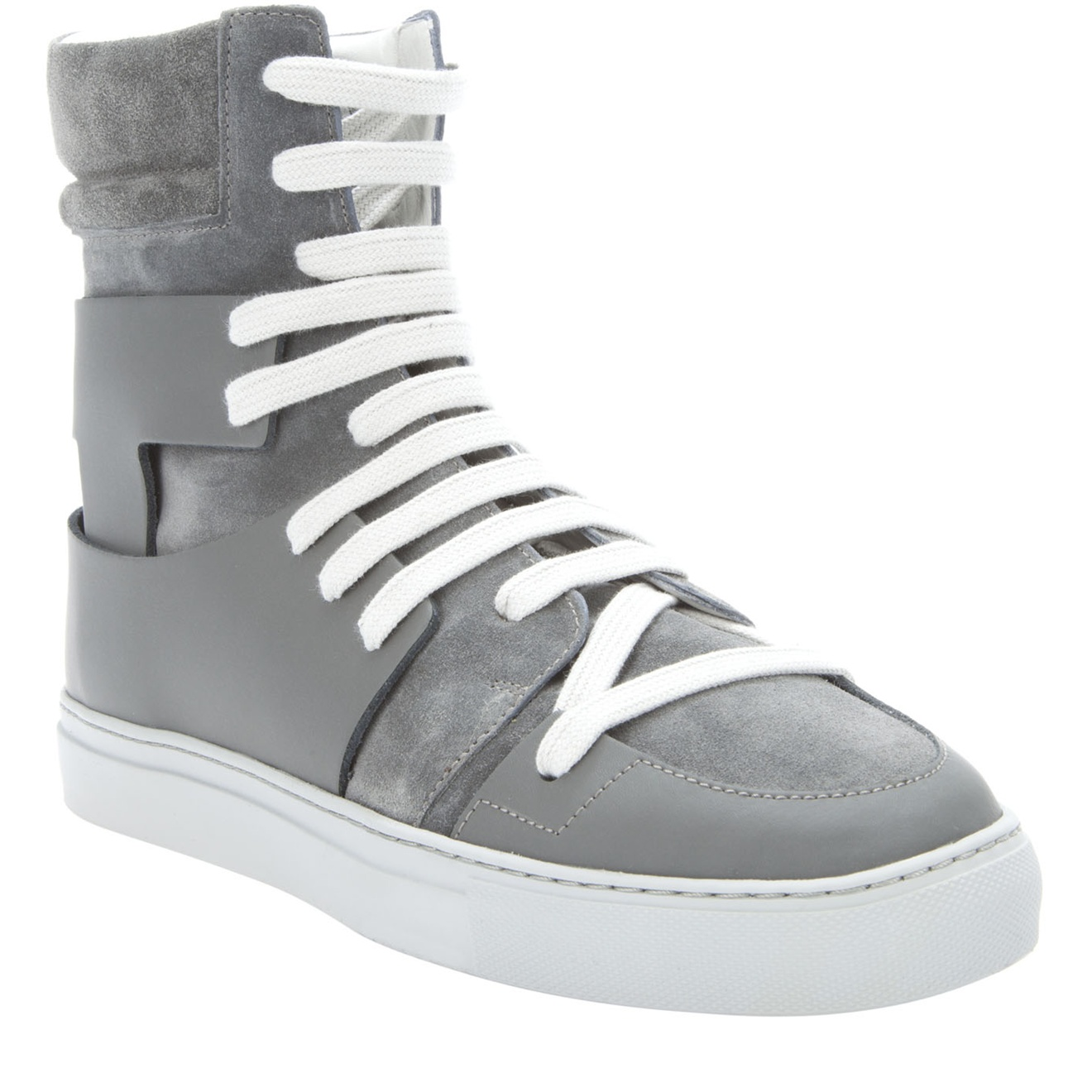 a0a6002dafb8ff Kris Van Assche Uneven Lace High-top Trainer in Gray for Men - Lyst