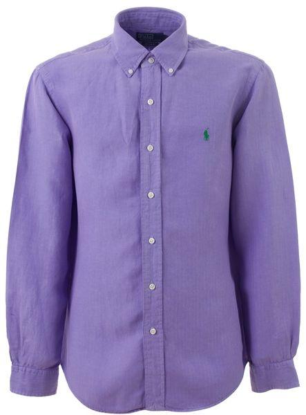 Polo ralph lauren long sleeve logo shirt in purple for men for Long sleeve purple polo shirt