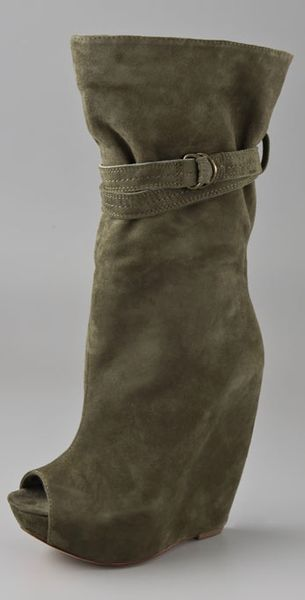 report signature pearsall suede wedge boots in green