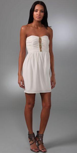 Shoshanna Beaded Silk Strapless Mini Dress In White Ivory