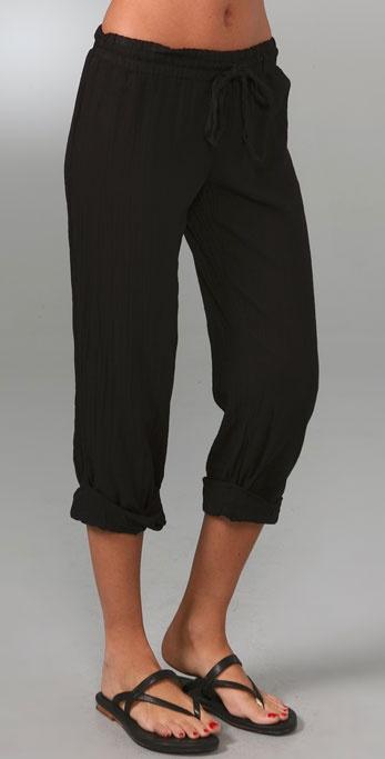 Lyst Splendid Cotton Gauze Rolled Pants In Black