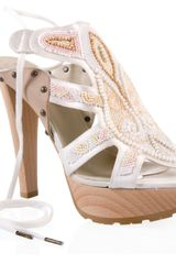 Stella McCartney Pearl Beaded High-leg Sandal - Lyst
