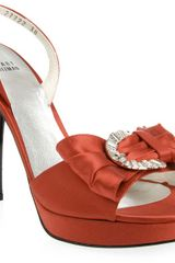 Stuart Weitzman Satin Buckle Bow Shoe - Lyst