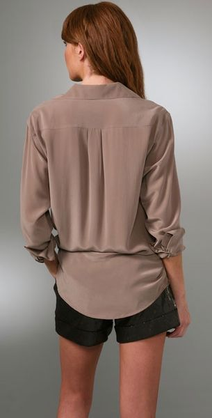 Equipment Signature Washed Silk Blouse In Beige Taupe Lyst