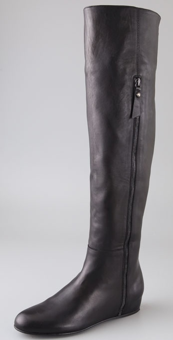 Stuart weitzman Elf Over The Knee Wedge Boots in Black | Lyst