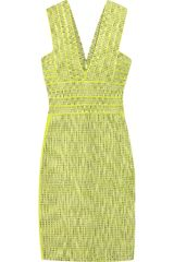 Hervé Léger Jacquard Bandage Dress in Yellow (green) - Lyst