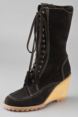 See By Chloé Lace Up Suede Boots On Crepe Wedge - Lyst