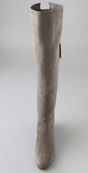 6f0243e16e3 Lyst - Stuart Weitzman Elf Suede Over The Knee Wedge Boots in Gray