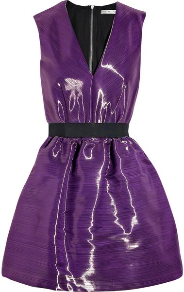 Victoria Beckham Satincrepe Bell Dress in Purple - Lyst