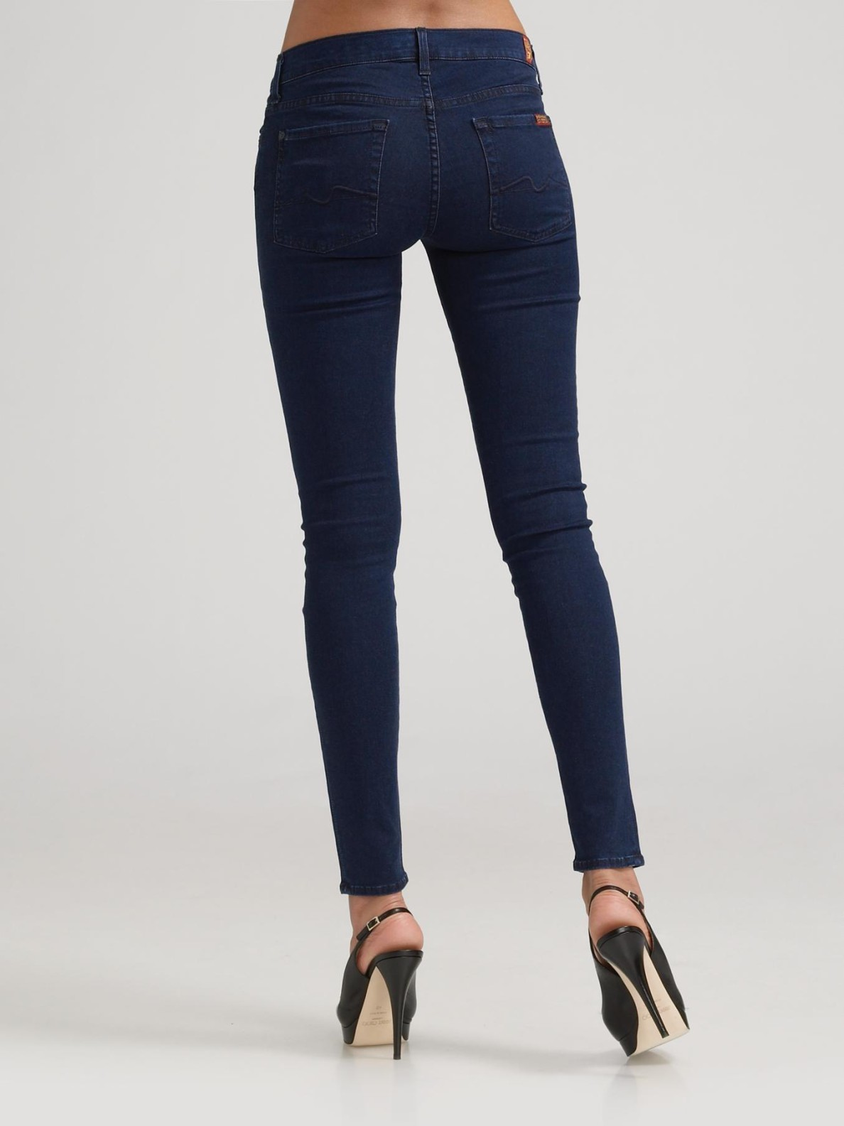 7 for all mankind Gwenevere Skinny Jeans in Black | Lyst