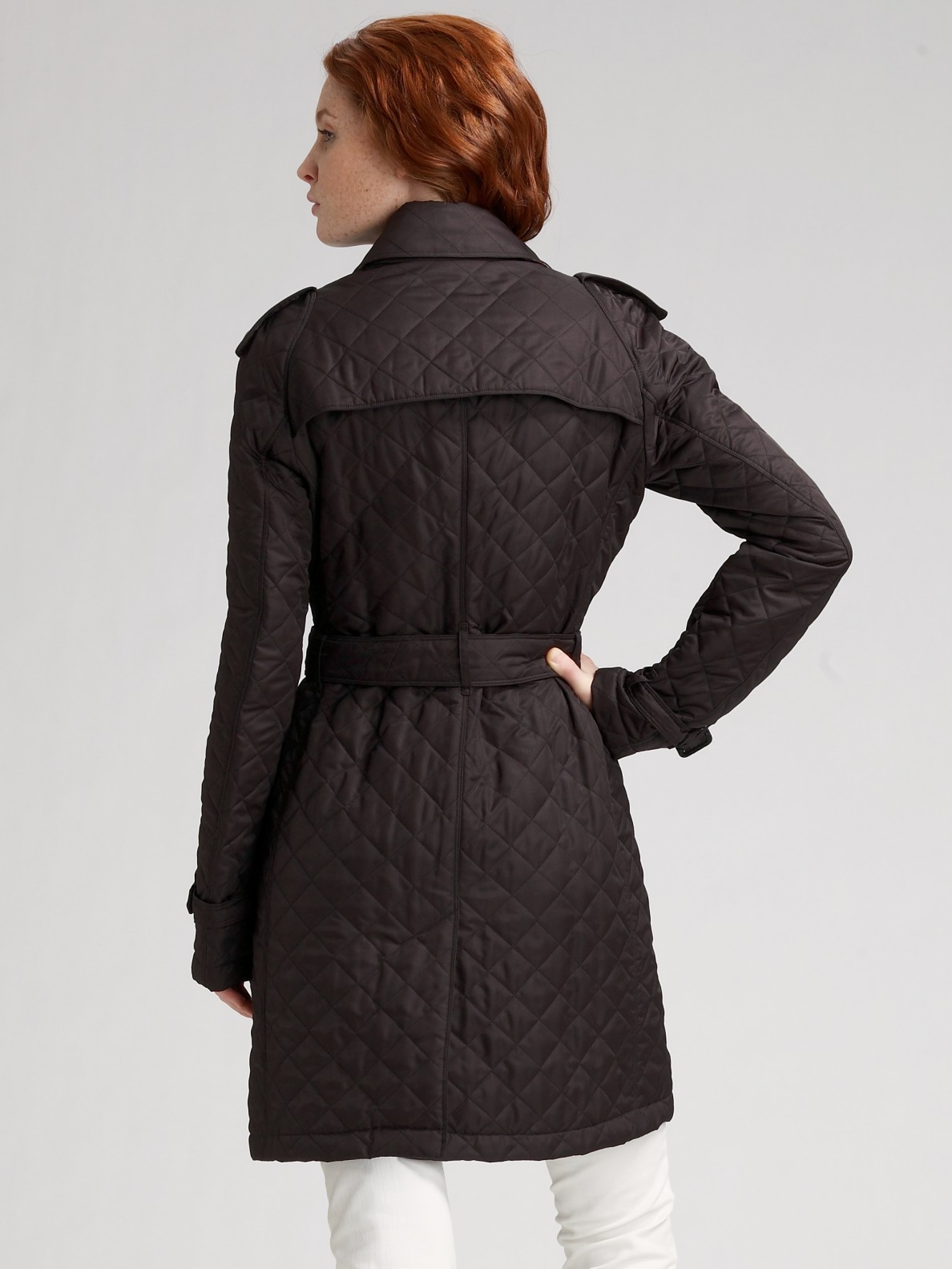 Lyst Burberry Brit Trench Style Quilted Coat In Black