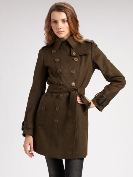 Burberry Wool Cashmere Military Coat In Green Olive Lyst