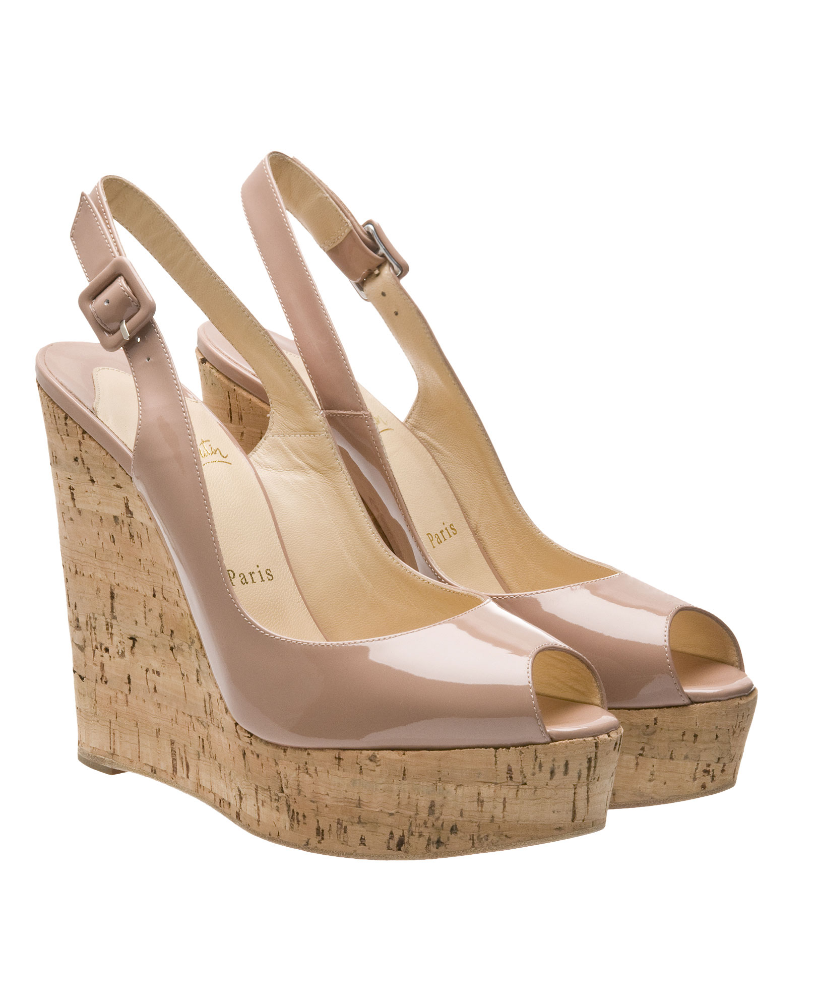 repica shoes - Christian louboutin Une Plume Slingback Cork Platform, Nude in ...