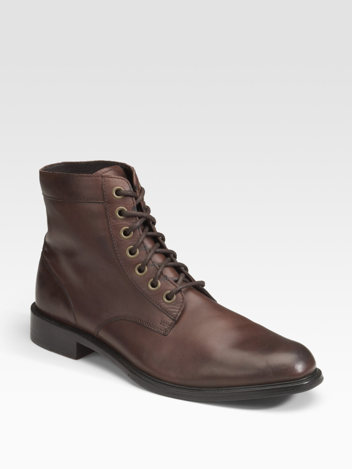 cole haan hank lace up boots in brown for lyst