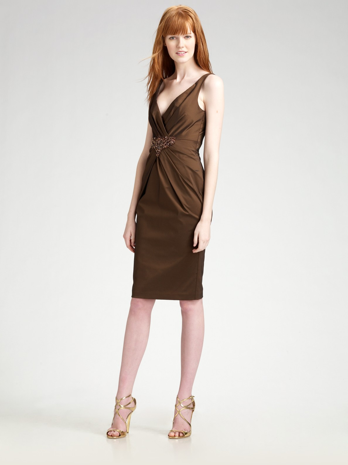David meister V-neck Waist Detail Cocktail Dress in Brown | Lyst