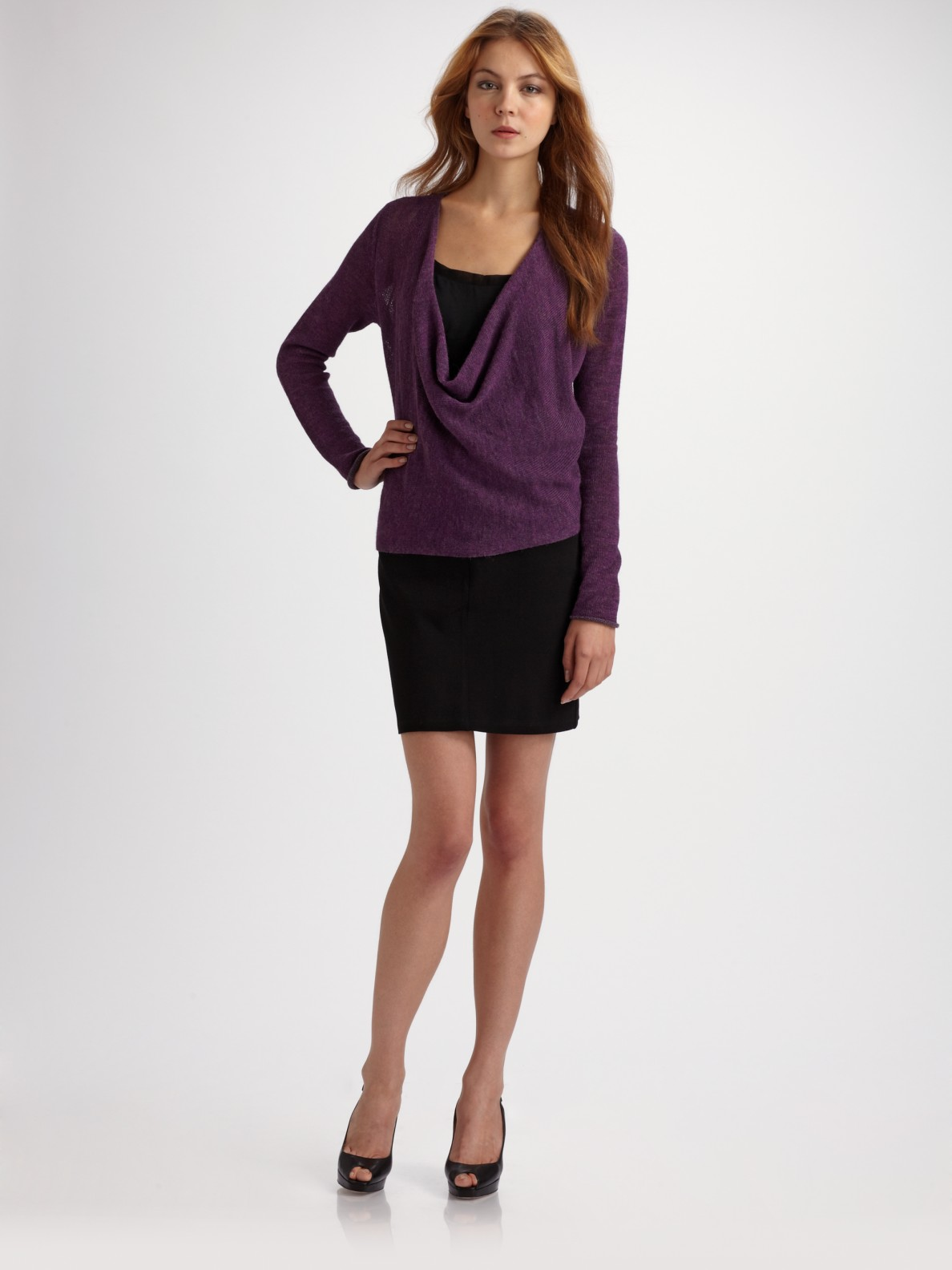 eileen fisher stretch knit pencil skirt in black lyst
