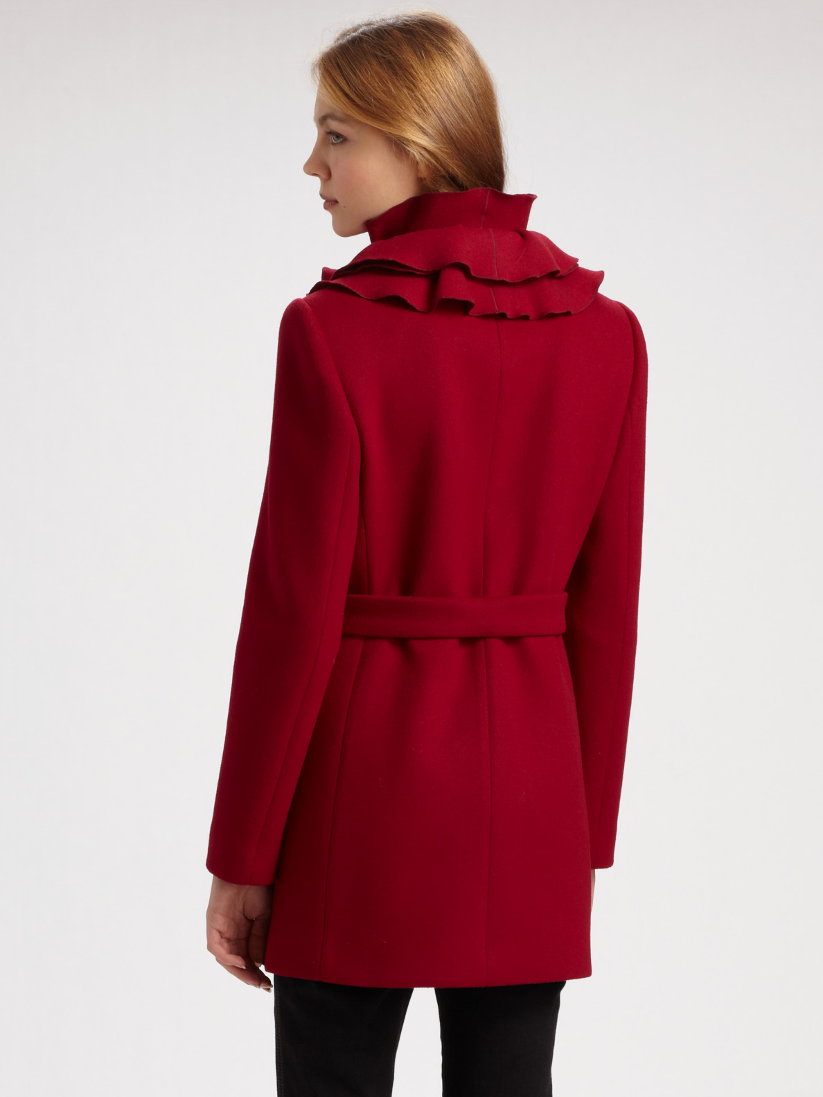 The Rainbow Colored Organza Ruffle Overcoat is our bestselling boa coat. These huge coats are perfect for Gay Pride in Gay Flag colors. Other popular colors are our black organza ruffle long coat, our fuchsia organza ruffle floor-length coat with long sleeves and our bright red organza ruffle coat in over-sized ruffled organza sleeves.