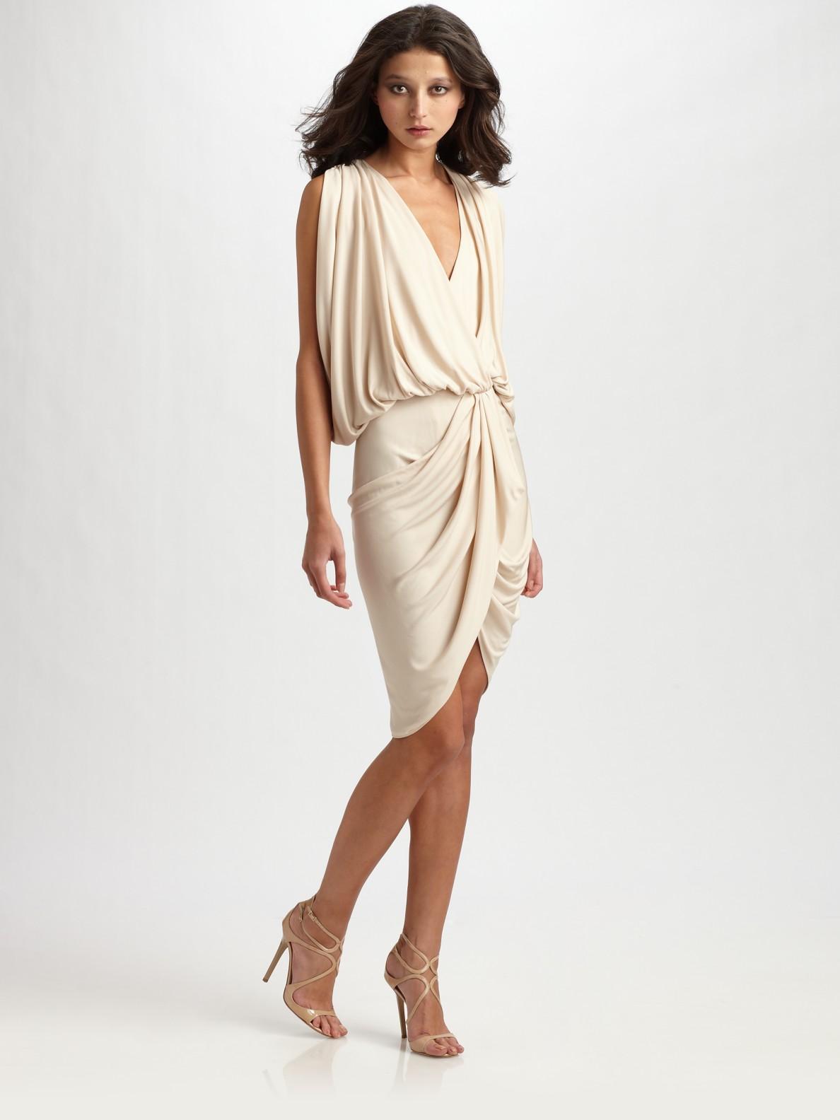 dd6aaa9f4679 Haute Hippie Draped Wrap Dress in Metallic - Lyst